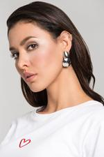 OwnTheLooks Silver-Toned Double Dome Button Earrings (495B)