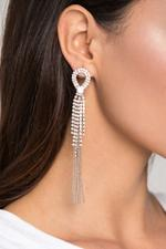 OwnTheLooks Silver-Toned Embellished Tassel Earrings (416B)