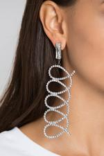 OwnTheLooks Silver-Toned Studded Swirl Drop Earrings (417B)