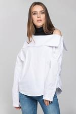 OwnTheLooks White & Black Turtle Neck Cold Shoulder Panel Top (349B)