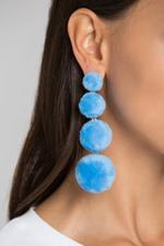 OwnTheLooks Blue Tiered Fur Button Earrings (420B)