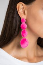 OwnTheLooks Pink Tiered Fur Button Earrings (421B)