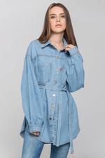 OwnTheLooks Blue Denim Drop Shoulder Shirt Top