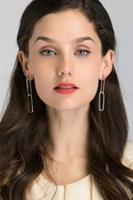OwnTheLooks Silver-Toned Rectangle Cut-Out Drop Earrings (202B)