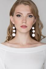 OwnTheLooks White Yarn Ball Earrings