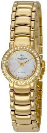 Christina Design Londoon Swiss Gold Stainless Steel Watch for Women,MOP Dial Sapphire Crystal 36 Diamonds-115-2 GW