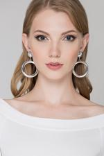 OwnTheLooks Silver-Toned Button Drop Earrings (858A)