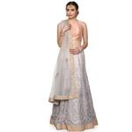 Pankhudii Grey Embroidered Semistitched Lehenga Set  (RHYTHM26)