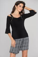 OwnTheLooks Black Knit Flare Sleeve Belt Strap Top (815A)