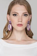 OwnTheLooks Purple & Pink Wooded Disk Drop Earrings (848A)