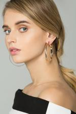 OwnTheLooks Gold Flat Ribbed Hoop Earrings