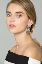 OwnTheLooks Silver-Toned Double Buckle Drop Earrings (577B)