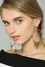 OwnTheLooks Gold-Toned Round Fringed Drop Earrings (579B)