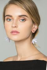 OwnTheLooks Gold-Toned Lavender Flower Earrings (583B)