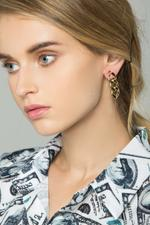OwnTheLooks Gold-Toned Tri-Chain Earrings (584B)