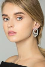 OwnTheLooks Silver-Toned Embellished Round-Plate Drop Earrings (587B)