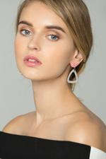 OwnTheLooks Silver-Toned Faux Rhinestone-Studded Triangle Drop Earrings (589B)
