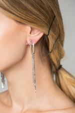 OwnTheLooks Silver-Toned Stone-Studded Tassel Earrings (590B)