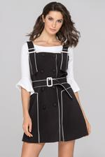 OwnTheLooks Black White Trim Double Button Two Piece Mini Dress