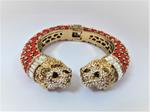 Amishi London Red Gold Plated Two-Headed Lion Crystal Embellished Cuff Bracelet (BT004L RED)