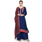 Pankhudii Blue and Red Embroidered Palazzo Set (RAAS57)