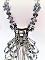Amishi London Black & Gunmetal Crystal Studded Necklace (NCK004)