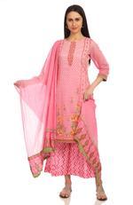 BIBA Pink Cotton Dupatta (ROSEOF14733SS19LPNK)