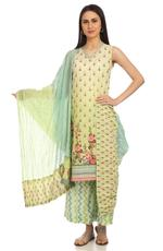 BIBA Turquoise and Green Cotton Dupatta (ROSEOF14733SS19TURGN)