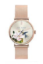 Ted Baker Phylipa Flowers Women's Watch with Light Ivory Dial and Rose Gold Mesh Bracelet - T TBKPPFF901