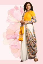 The Khadi Staple White & Yellow Printed Half & Half Saree with Unstitched Blouse (TKSG11)