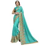 Triveni Sea Green Georgette Embellished Saree with Unstitched Blouse (TSNSM6010)