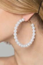 OwnTheLooks Faux Pearl Round Hoop Earrings