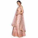 Pankhudii Pink Floral Embroidered Semistitched Lehenga Set  (RHYTHM35)