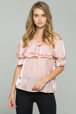 OwnTheLooks Pink Off Shoulder Flounce Top (537B)