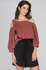 OwnTheLooks Rust Brown Sleeved One Shoulder Top (912A)