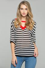 OwnTheLooks Black and White Striped Red V-Neck Choker Top
