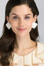 OwnTheLooks White Square Button Oversized Stud Earrings (013B)