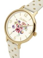 Cath Kidston Mallory Cream Gold Polka Dot PU Strap Analog Watch - CKL004WG