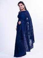 Pankhudii Navy Blue Embroidered Saree with Unstitched Blouse (15655)