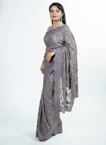Pankhudii Taupe Embroidered Saree with Unstitched Blouse (15653)