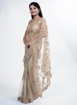 Pankhudii Beige Embroidered Saree with Unstitched Blouse (15386)