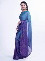 Pankhudii Purple & Green Ombre Saree with Unstitched Blouse  (8410)