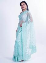 Pankhudii Light Green Embroidered Saree with Unstitched Blouse  (15601)