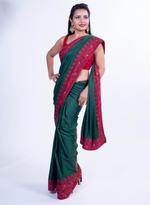 Pankhudii Green Embroidered Saree with Unstitched Blouse (15162)