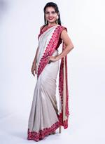 Pankhudii Beige Embroidered Saree with Unstitched Blouse (15162)