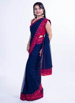 Pankhudii Navy Blue Embroidered Saree with Unstitched Blouse (14820)