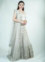 Pankhudii Grey Embroidered Semi-Stitched Lehenga Set (76331)