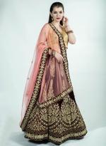 Pankhudii Maroon & Pink Embroidered Semi-Stitched Lehenga Set (25305)