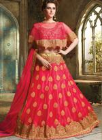 Pankhudii Red Embroidered Semi-Stitched Lehenga Set (10453)