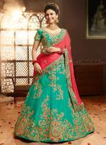 Pankhudii Green & Pink Embroidered Semi-Stitched Lehenga Set (10603)